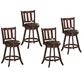 COSTWAY Bar Stools Set of 4, Counter Height Dining Chair, Fabric Upholstered 360 Degree Swivel, PVC Cushioned Seat, Perfect for Dining and Living Room (Height 24.5''-Set of 4)