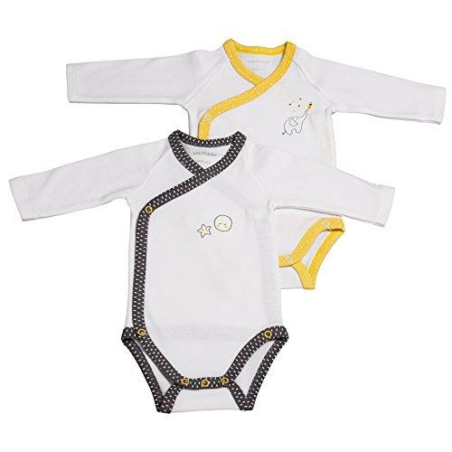 Lot de 2 bodies gris/jaune naissance Babyfan - Sauthon