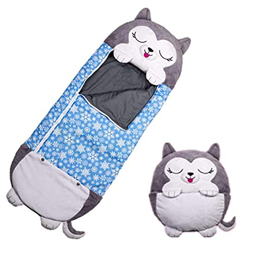 Play Almohad, Divertido Saco de Dormir Sorpresa, Sacos de Dormir Plegables/Lavables, 2 En 1 Saco De Dormir Y Almohada para Dormir, Suave, Cómodo, para niños (Perro Gris)