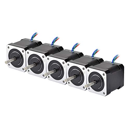 STEPPERONLINE 5PCS Nema 17 Stepper Motor Bipolar 2A 84oz.in 48mm 4-Lead for 3D Printer/CNC