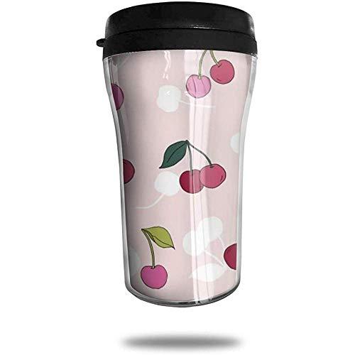Koffiemok met kersenreis, bedrukte draagbare zuignap, geïsoleerde thee-schaal-water-fles-beker voor het drinken