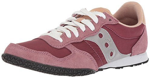 Saucony womens Bullet Sneaker, maroon/tan, 5 Medium US