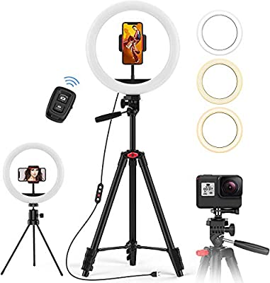 "10.2"" Ring Light with 50"" Tripod Stand and Phone Holder, Jecoo Selfie Ring Light for Photography/Makeup/Vlogging/Live Streaming, Compatible with Phones and Camera from Jecoo"