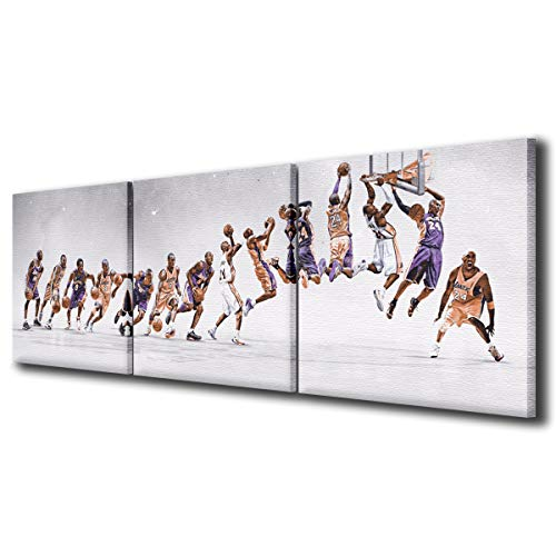 Kobe Bryant Poster Pictures Prints on Canvas Wall Decor for Living Room NBA LA Lakers Jersey History Modern Art Work for Home Walls 3 Panel Framed Stretched Ready to Hang(60''Wx20''H)