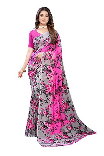 ANNI DESIGNER Women's Chiffon Saree with Blouse Piece (Pink Jilla GREY_Grey)
