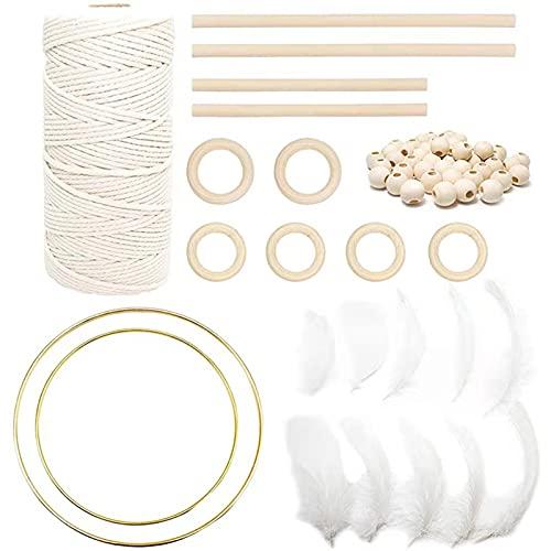 Macrame Cuerda Kit de Macramé de Hilo de Algodón Suave, Cordón Hilo de Algodón para Tapices, Atrapasueños, Álbumes de Recortes, etc (B)