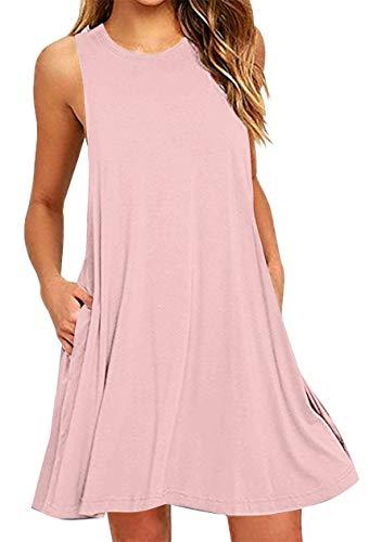 OMZIN Damen Longshirt Tunika mit Taschen Einfärbig Loose Strandkleid, L, Tasche-rosa