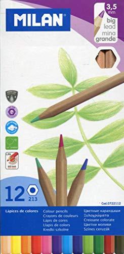 Milan 0722112 - Pack de 12 lápices de colores, mina grande