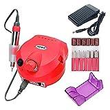 SHUHANG Professional 30000RPM Taladro de uñas de Alta Velocidad Bajo Ruido bajo vibración Máquina de Archivos de uñas eléctrica para la presentación (Color : Red, Size : 5.3x6.1in)