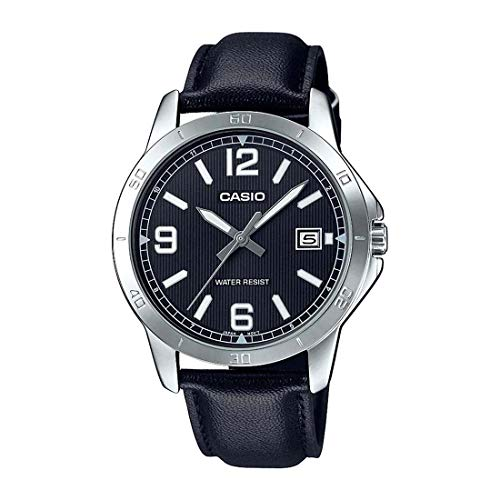 Casio MTP-V004L-1B Men's Stainless Steel Black Leather Band Black Dial Date Watch