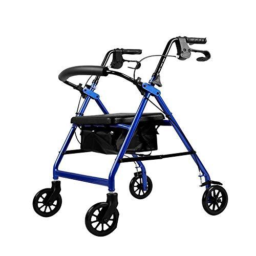 Andadores para discapacidad Andador para Ancianos Bariátrica Pesado Rollator, con 6 Pulgadas Wheels, Doblado de Aluminio de Ruedas Walker, Freno de Mano Lock (Color : Blue)