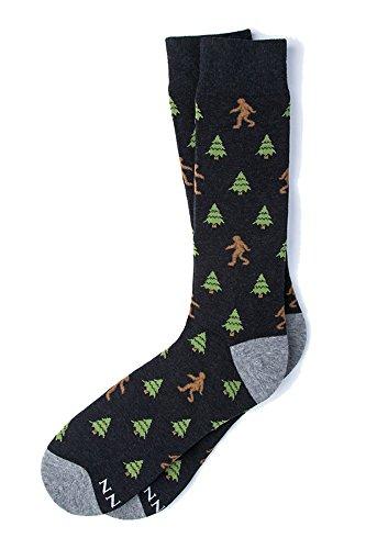 Men's Hipster Designer Gone Sasquatchin Sasquatch Big Foot Contemporary Crew Dress Socks (Black)