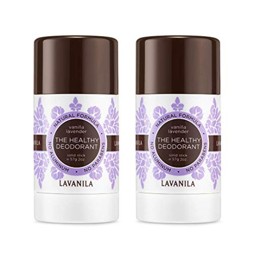 Lavanila Natural Aluminum-Free Deodorant. The Healthy Deodorant Vanilla Lavender Scent (Pack of 2)