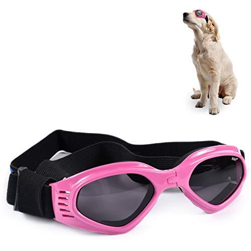 FGen Occhiali Per Cani, Occhiali Da Compagnia Anti-uv, Cinturino Regolabile Per Specchietto, Occhiali Per Cani Antivento E Impermeabili, Adatti Per Cani Di Piccola E Media Taglia (Rosa)