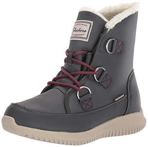 Skechers Women's Ultra Flex-Waterproof Short Lace Up Boot with Sherpa Trim Ankle, Charcoal, 10 M US