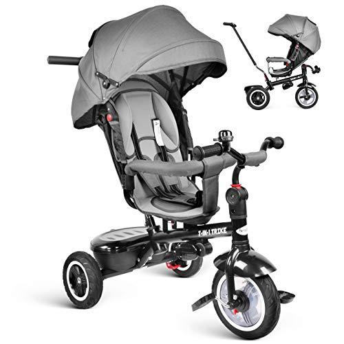 Besrey 7 in 1 Triciclo passegino per Bambini Triciclo con maniglione Triciclo a Spinta Bicicletta con seggiolino Reversibile 360° Parasole 6 Mesi a 6 Anni (Grigio)