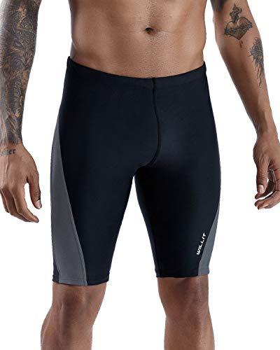 Willit Men's Swim Jammer Swimsuit Training Endurance+ UPF50+ Swimwear Quick Dry Gray Size XL
