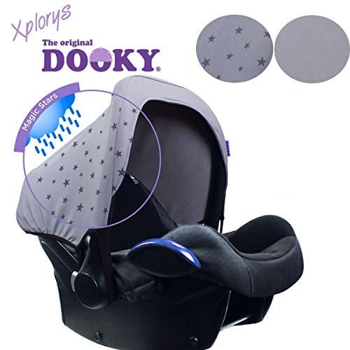 DOOKY HOODY Style UV+ Universal Verdeck für Maxi Cosi Cabrio / CabrioFix / Pebble / Citi, Römer und andere Babyschalen Gruppe 0+ als Sonnenschutz / Sonnenverdeck / RegenSchutz (Regen-Hoody)