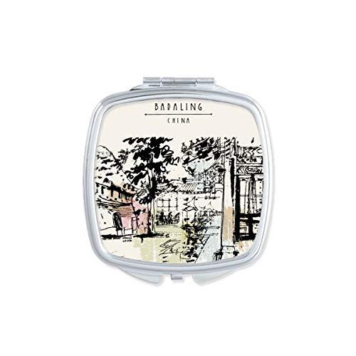 DIYthinker De Verborgen Paviljoen In Chengdu Van China Vierkant Compact Make-up Spiegel Draagbare Leuke Hand Pocket Spiegels Gift