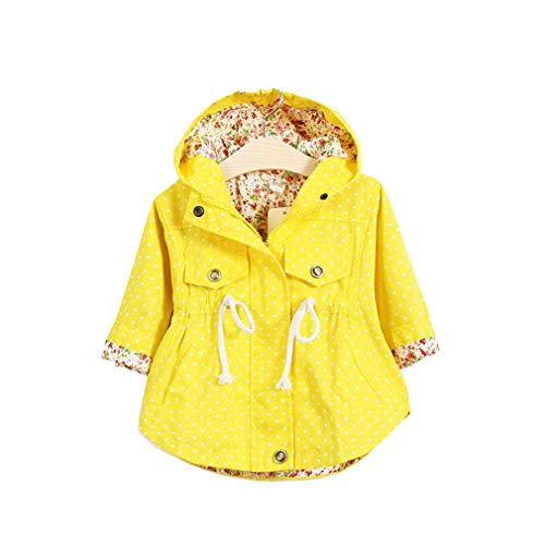 Bébé Filles Manteau Trench à Capuche Printemps Automne Préscolaire Manches Longues Polka Dots Zipper À Capuchon Trench Manteau Veste/Jaune/Rose
