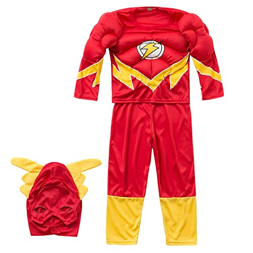 Lily&her friends - Costume da supereroe per bambini, per cosplay, Halloween, 2-8 anni Flash altezza 85/100 cm