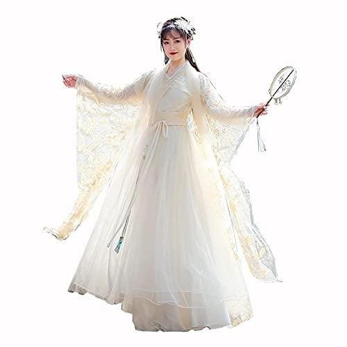 YANLINA Hanfu Vestido Chino Antiguo Para Mujer Traje Tradicional De Hanfu Fluido Vestidos De Traje De 4 Piezas Falda De Cosplay De Carnaval De Escenario (Color : Beige, Tamaño : XXL)