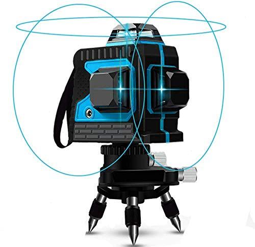 Kreuzlinienlaser 25M, Careslong 3 x 360 Blau Licht Laserpegel selbstausgleichende, 3D 12 Linien, IP 54 Selbstnivellierende Vertikale und Horizontale Linie (2pcs Batterie) (12 Linien Blau Licht)