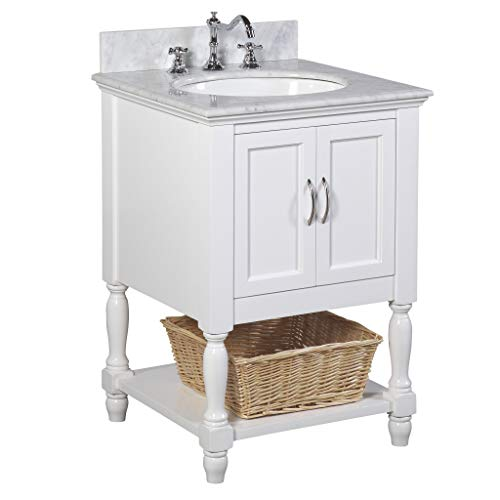 Beverly 24-inch Bathroom Vanity (Carrara/White): Includes White Cabinet with Authentic Italian Carrara Marble Countertop and White Ceramic Sink