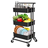 ZRG Küchenwagen aus Metall mit 4 Rollen und 2 Bremsen, für Bad und Küche, Waschküche, Schwarz