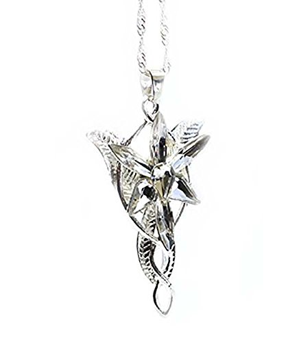 Lord Of The Rings - LOTR - Hobbit Arwen EVENSTAR Silver Necklace Crystal Pendant Replica Prop