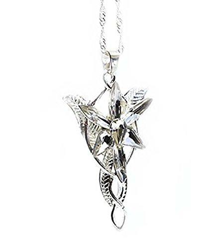 «El Senor de los Anillos», «El Hobbit» - Replica del colgante de cristal y plata de Arwen o Estrella de la tarde.