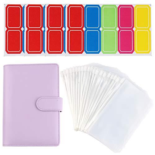 Leder-Notizbuch, A6 Plastiktüten, 6-Ringbinder, Ledereinband + 20 Stück wasserdichte Reißverschluss-Taschen + 40 Stück Etiketten-Aufkleber, Kunststoff-Binder-Umschläge für Schule, Bürobedarf (lila)