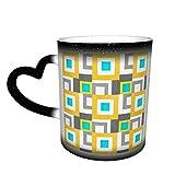 Taza de café de cerámica que cambia el calor, blanco, abstracto, geométrico, color gris, aguamarina, gris, sensible, para café, té, leche o cacao, regalo de novedad
