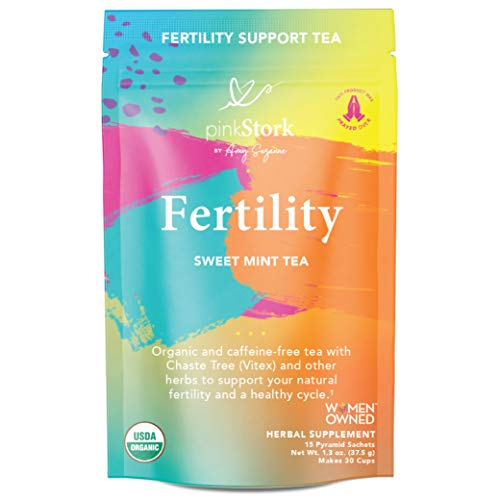 Pink Stork Fertility Tea: Sweet Mint, Raspberry Leaf Tea, 100% Organic, Fertility Tea for Women to Help Support Prenatal Vitamins + Hormones + Cycle, Women-Owned, 30 Cups