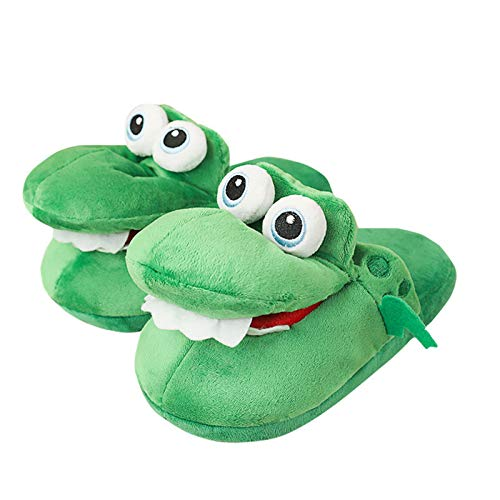 Shubiao Women Crocodiles Plush Slippers with Open Mouth Cotton Slippers with A Moving Mouth for Winter