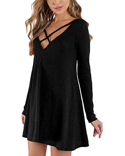 YOINS Strickkleider Damen Winterkleid Skaterkleid Weihnachtskleid Kleider für Damen Sexy Jerseykleid Langarm V-Ausschnitt A-Linie Minikleid