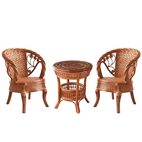 MEI XU Tejido a Mano Natural Rattan 3 sillas de PC Natural Hecho a Mano Mimbre de Set 2 sillas y 1 Tabla de café @ (Color : Natural)