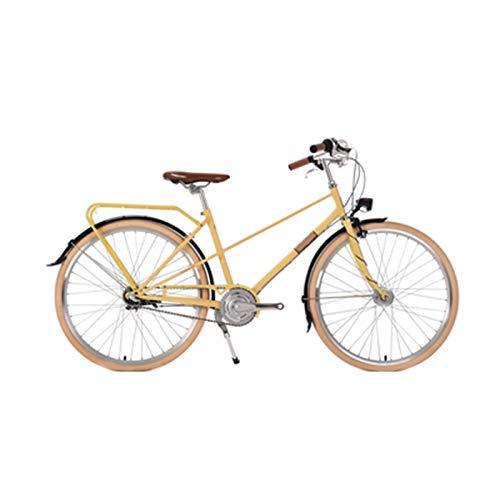 Bicicleta Retro Ligera Señora Vehículo Recreativo Bicicleta Urbana Vehículo Interior De Tres Velocidades Bicicleta para Adultos De 26 Pulgadas,Amarillo