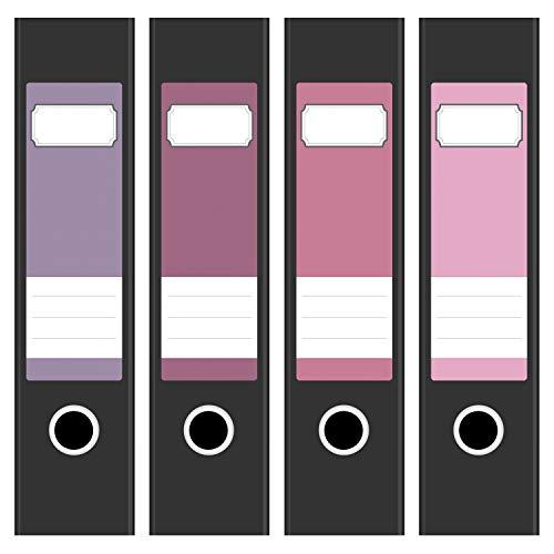 Ordneretiketten | 4 Aufkleber für breite Akten-Ordner | Farb-mix Rosa Töne | selbstklebende Design Akten-Etiketten | Deko Sticker für Rückenschilder Ordnerrücken | zum Beschreiben