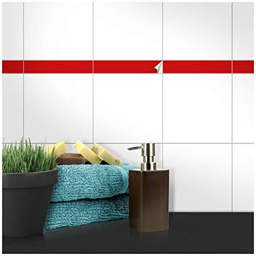 Wandkings Fliesenaufkleber - Wähle eine Farbe & Größe - Rot Seidenmatt - 5 x 25 cm - 50 Stück für Fliesen in Küche, Bad & mehr