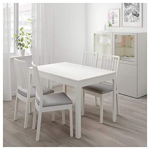 EKEDALEN/EKEDALEN Tisch und 2 Stühle, weiß, Ramna hellgrau, 80/120 cm, strapazierfähig und pflegeleicht, Essgruppe bis zu 2 Sitzplätze, Esstisch und Schreibtische, Möbel, umweltfreundlich