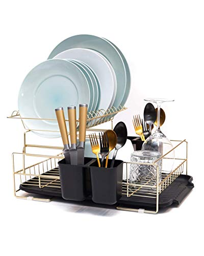 Gold Dish Drying Rack, 2 Tier Dish Drying Rack - Large Dish Rack and Drainboard Set, Dish Drainers for Kitchen Counter- Gold Dish Rack with Easy Sink Drain Edge