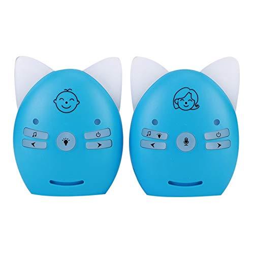 Monitor de audio para bebés, monitor de sonido inalámbrico para bebés de 2,4 GHz, voz de 2 vías, luz nocturna pequeña, walkie talkie, transmisión a larga distancia(EU-Azul)