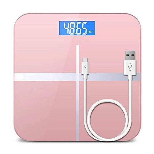 KANJJ-YU Báscula Inteligente Escala electrónica, Digital de la Temperatura báscula de baño, 180Kg, Rosa Casa