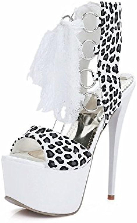 HIGHXE Frauen High Heels Party Schuhe Fisch Mund Wasserdichte Stilett Pumpenschuhe Plattform Anti-Rutsch Lace Ups Leopard Schuhe