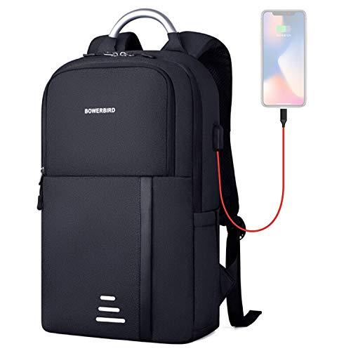 Casual rugzak voor heren, USB business rugzak, waterafstotend, geschikt voor tablet met 39,6 cm (15,6 inch), blauw/grijs/zwart, blue (zwart) - 666-888-999