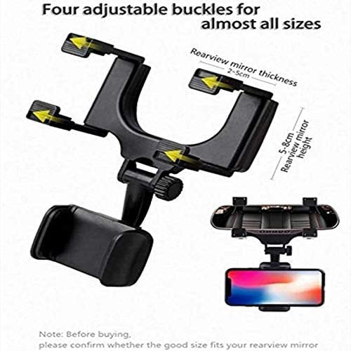 CQLEK® Rugged Car Rear View Mirror Mount Stand - Anti Shake Fall Prevention | 360 Degree Rotation | with Anti-Vibration Pads | Adjustable Car Mount Holder for All Mobiles
