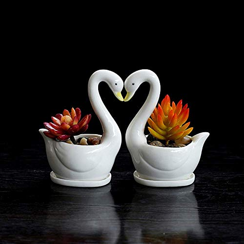 2ps Garden Sculpture Garden Decoration Goose Pot Resin Raamdecoratie Tuin Vaas Woninginrichting Goose Garden Decoration Flower Pot gazon Dilemma Wild Water Bird Plant Container zhihao