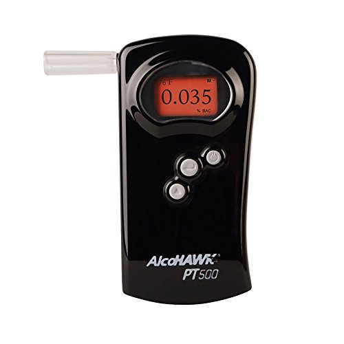 AlcoHAWK PT500 Breathalyzer, Fuel Cell Sensor, Police Grade Professional Breath Alcohol Tester, Portable Personal Use Alcohol Detector Accurate and Fast Results, BAC Tracker with Digital LCD Screen