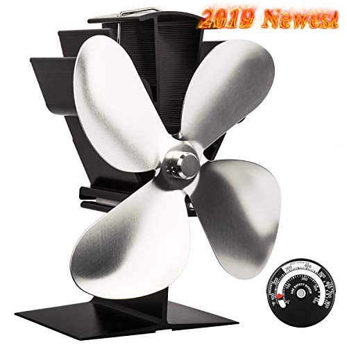 Sonyabecca Heat Powered Stove Fan with Magnetic Thermometer 4 Blade Wood Stove Fans Aluminium Silent Eco-Friendly for Wood Log Burner Fireplace-Silver